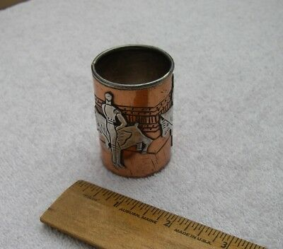 Vintage VICTORIA TAXCO Silver & COPPER SHOT GLASS / Toothpick-Bullfighter Motif