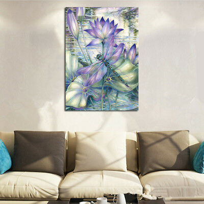 AU Flower Dragonfly 5D Full Drill Diamond Painting Embroidery Cross Stitch LE