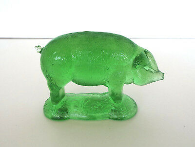 GREEN GLASS PIG Paperweight Vintage Sow FIGURINE Mid Century Modern FARMHOUSE