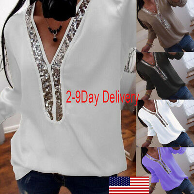 Plus Women Clubwear Sequin V Neck Long Sleeve Tops Casual T-Shirt Blouse Shirt