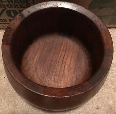 Vintage Dansk IHQ solid staved teak wood salad serving bowl Mid-Century 8""