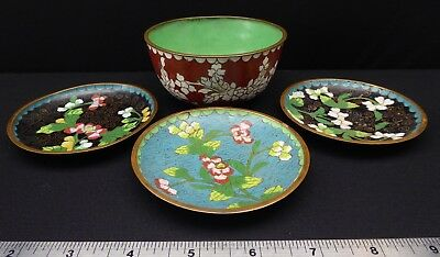 Antique Chinese Cloisonne Rice Bowl Enamel Copper 3 small Sauce dishes