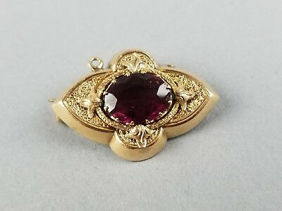 ESTATE, C CLASP, victorian era Solid 14K Yellow Gold Amethyst Antique Pin, 3.1g