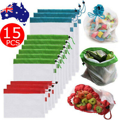 15pcs Reusable Mesh Produce Bags Grocery Fruit Vegetable Storage Shopping Pouch