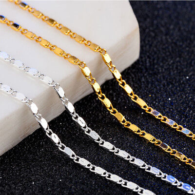 Unisex 18K Gold Filled Thin Link Flat Chain Necklace Charms Jewelry For Pendant