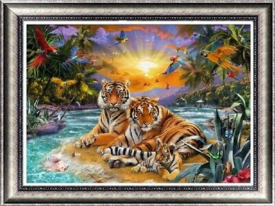 AU Tiger Family Full Drill 5D Diamond Embroidery Painting Cross Stitch Kit LE
