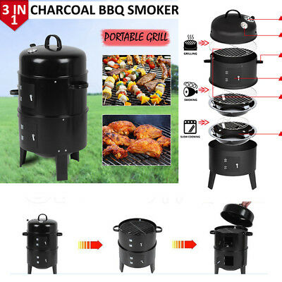 3 in1 Grillwagen Holzkohlegrill BBQ Holzkohle Barbecue Smoker Grill Gartengrill