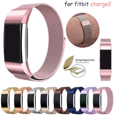 Unisex Magnetic Milanese Stainless Steel Watch Band Strap For Fitbit Charge 2 UK