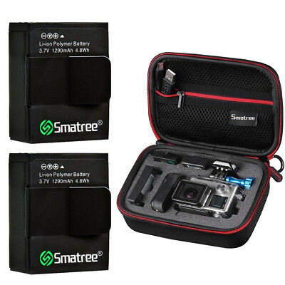Smatree Carry Case and Li-Polymer Battery (2-Pack) 1290mAH for GoPro HERO 3+, 3