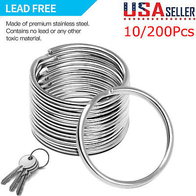 200Pcs Key Rings Chains Split Ring Hoop Metal Loop Steel Accessories 25mm LoT