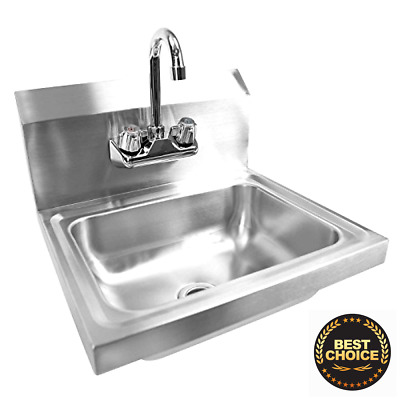 Gridmann Commercial NSF Stainless Steel Sink - Wall Mount Hand Washing Basin wi