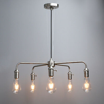 5 Way Ceiling Pendant Cluster Light Vintage Industrial Metal Iron Copper Lamp