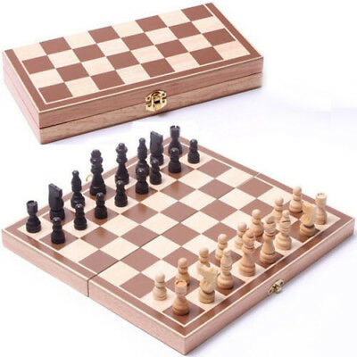 Wooden Pieces Chess Set Folding Board Box Wood Hand Carved Toy Games Portable D2