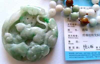 Icy-Green 100% Natural Certified Jade Jadeite Carved Mouse Ruyi Pend./necklace