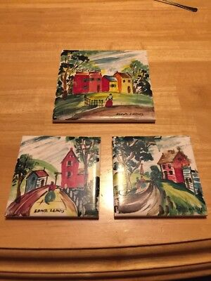 Edna Lewis Balt. Md.Artist Oil Painting Tile Wall Art Woman Signed 3 Total