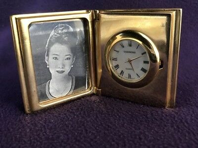 MINIATURE CLOCK - HINGED BOOK PHOTO FRAME - In Working Order