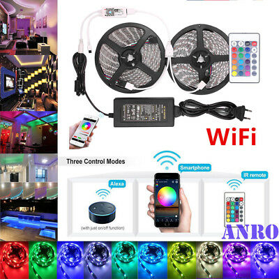 ❤ 5M 10M Smart Wifi RGB LED 5050 Streifen Stripe APP für Echo Alexa Google Home