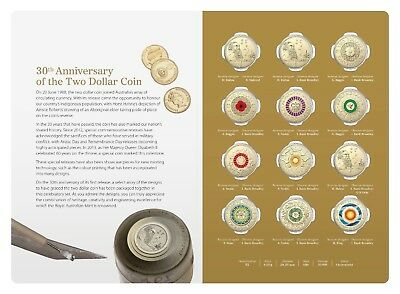 2018 $2 30Th Anniversary Of $2 Coin - Twelve (12) Coloured Coins Set- Registered