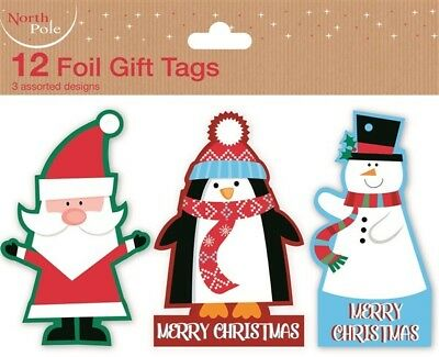 12 Foil Gift Tags Christmas Santa Xmas Gift Wrapping Present Various Designs