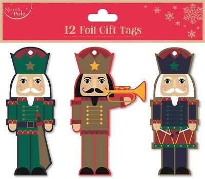 12 Foil Gift Tags Christmas Toy Soldier Gift Wrapping Present Various Designs