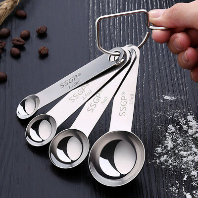 New Stainless Steel Measuring Spoons Set of 4 for Measuring Dry Liquid Coffee SF