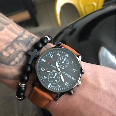 Men's Military Retro Leather Date Quartz Analog Army Casual Dress Wrist Watches