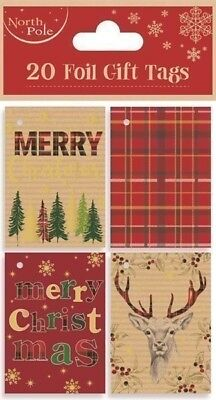20 Foil Gift Tags Christmas Tartan Xmas Gift Wrapping Present Various Designs