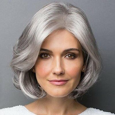 Light Grey High Temperature Fiber Synthetic Hair Wig Natural Short Wave Wig O5
