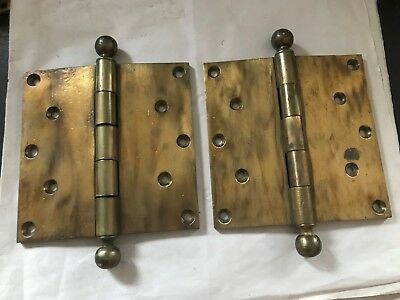 "2 LARGE ANTIQUE SARGENT 6 x 6"" ARTS & CRAFTS CAST BRASS BALL TOP TIP DOOR HINGES"
