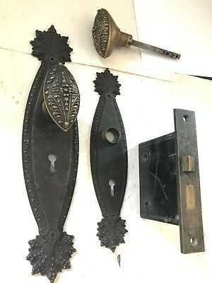 Rare Marquise Antique Victorian Cast Brass Bronze Entry Door Knob Plate Hardware