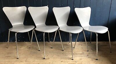 4 Grey Bentwood Ply Mid Century Style Stacking Dining Kitchen Chairs DELIVERY*