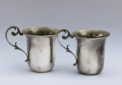 Pair of solid sterling silver 925 christening cups un engraved antique