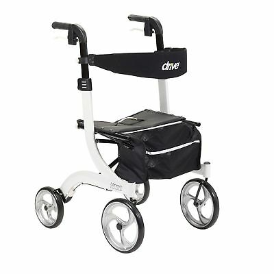 Drive Medical RTL10266WT Nitro Adjustable Euro Style Rollator Walker, White! M21