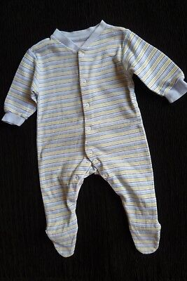 Baby clothes BOY 3-6m cream,blues,green,beige stripes babygrow cotton SEE SHOP!