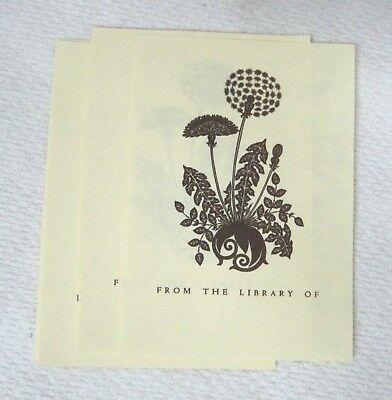 """Bookplates  Dandelion Weed 10Pc 4 x 2 3/4""""  Book Plate T91"""
