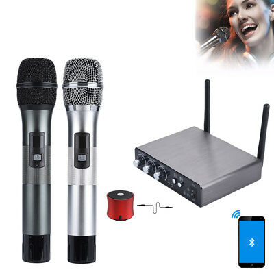 2 Channel VHF Wireless Dual Handheld Microphone Mic System Metal w/Receiver Box