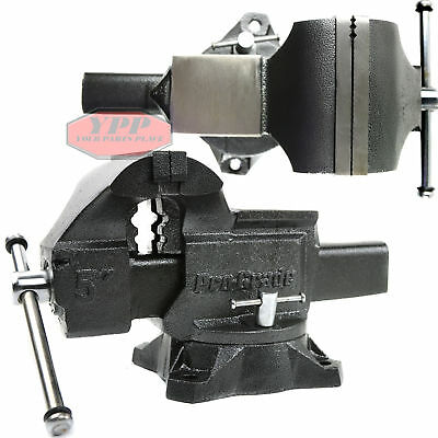 "5"" Bench Vise HD Anvil Cast Iron 270 Degree Swivel Locking Base Table Clamp"