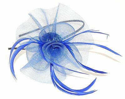 Blue with sinamay flower and feather tendrils fascinator alice hair band