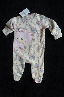 Baby clothes GIRL newborn 0-1m cream floral cat quality babygrow 2nd item postfr