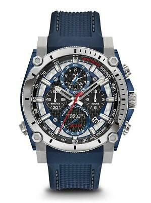 Bulova Men's Precisionist Black Chrono Dial Blue Polyurethane Strap Watch 98B315