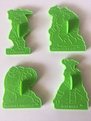 Set of 4 Teenage Mutant Ninja Turtles Green Cookie Cutters Wilton 1990 Mirage