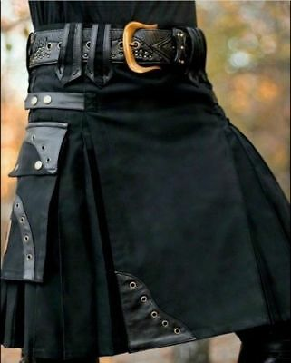 New stylish black Scottish utility kilts for men with leather loops Free Ship