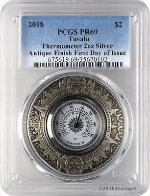 2018 $2 Tuvalu Thermometer Antique Finish 2oz 9999 Silver Coin PCGS PR69 FD