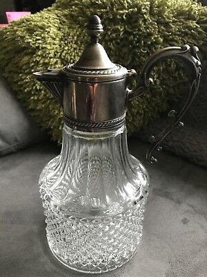 Vintage Silver Plate & Moulded Glass Claret Jug with Removable Top