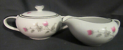 Empress China Thistlette 804 Creamer & sugar bowl with lid Japan