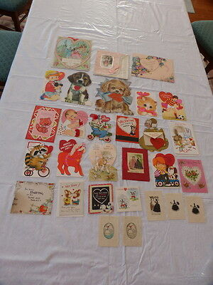 Vintage Valentine Cards Lot of 29 Some Lace & Some Unsigned