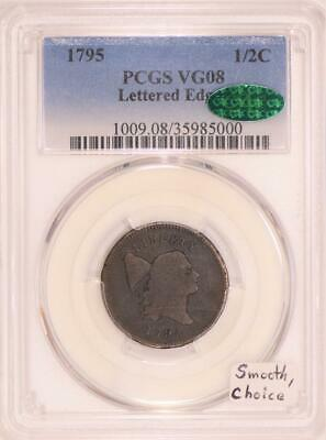 1795 Liberty Cap Lettered Edge Half Cent PCGS & CAC VG-08; Smooth, Choice
