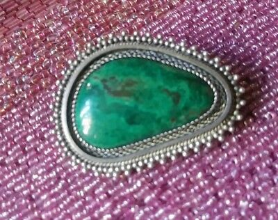 True Vintage 925 Sterling Silver Malachite Pin Pendent Large Bold Gemstone