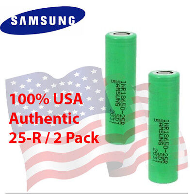 2 SAMSUNG 18650 25R 2500mAh 20A 3.7V HIGH DRAIN Rechargeable Battery Replacement