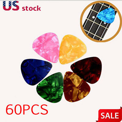 60Pcs Acoustic 0.71mm Bulk Celluloid Electric Smooth Guitar Pick Picks Plectrum